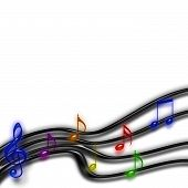 Musical Staff Of Rainbow Notes