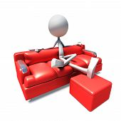 3D Character Watching Television