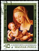 Vintage  Postage Stamp. Albrecht Durer. Virgin And Child.