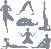 picture of samadhi  - illustrations of a set of yoga postures silhouettes - JPG