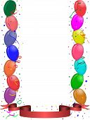Party Greeting Card With Balloons And Ribbon
