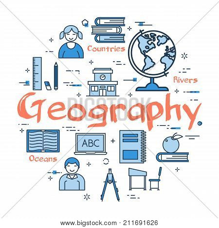 poster of Vector linear blue round concept of Geography Subject. School lesson for children and education line icons of notes, globe, books, ruler and computer