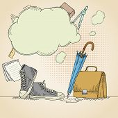 Abstract Hand Drawn School Background With Sneakers
