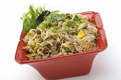 stock photo of pancit  - Pancit in a Red Ceramic dish with Garnish - JPG