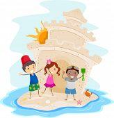Illustration of Kids Presenting a Big Sand Castle