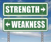 strength or weakness being strong or weak overcome problems accept the challenge to success 3D, illu poster