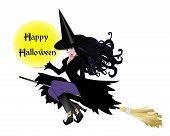 Bruxa com sinal de Halloween