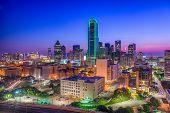 Dallas, Texas, USA aerial skyline. poster