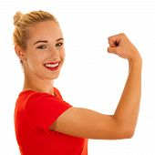 Beautiful Young Woman Gesturing We Can Do It Isolated Over White Backgrpound poster