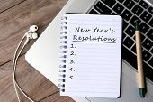 New Years Resolutions Written On Paper On Top Of Laptop Keyboard poster