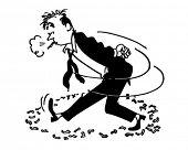 Pacing Smoker - Retro Clipart Illustration
