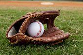 Baseball In Old Glove On Field