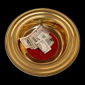 foto of tithe  - Church offering plate with some currency in it - JPG