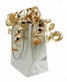 Silver Gift Bag With Gold Ribbons