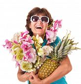 Senior woman holding bunch of flowers. Isolated.