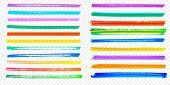 Highlight Brush Stroke Set Vector Color Marker Pen Lines Transparent Background poster