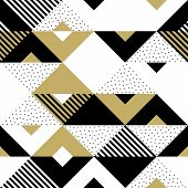 Abstract Pattern Golden Geometric Ornament Gold Triangle Square Vector Background poster
