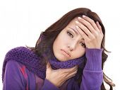 picture of throat  - Young woman with handkerchief having  cold - JPG
