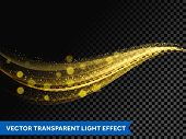 Light Line Gold Effect Light Glitter Wave Line With Sparkling Particles poster