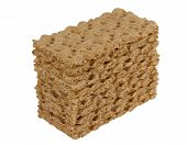 stock photo of wasa bread  - Stack of rye crispbread isolated on white background - JPG
