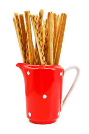 picture of milkman  - Bread sticks in red milkman isolated on a white background - JPG