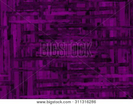 poster of Bauhaus Seamless Pattern. Watercolor Geometric  Purple Violet Lines Design. Art Organic Geo Backgrou