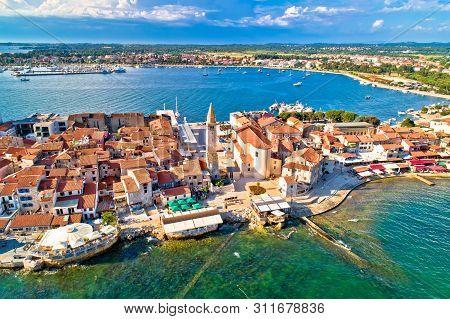 poster of Town Of Umag Historic Coastline Architecture Aerial View, Archipelago Of Istria Region, Croatia