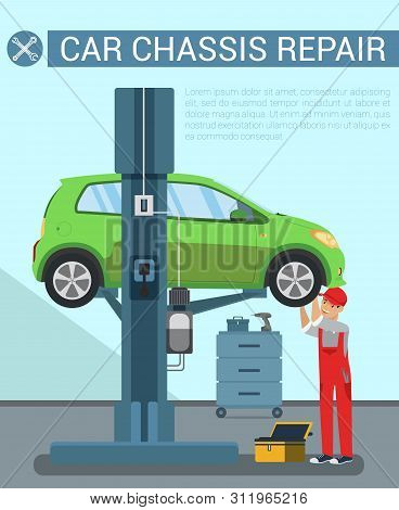 poster of Car Chassis Rapair. Car Service Equipment. Service Station. Icon With Car On Overpass. Auto Lift. Wh