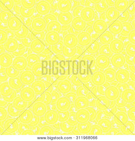 poster of Indian Rupee Gold Coins Seamless Pattern. Excellent Scattered Yellow Inr Coins. Success Concept. Ind