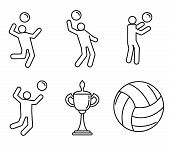 Volleyball Sport Icons Set. Outline Set Of Volleyball Sport Icons For Web Design Isolated On White B poster