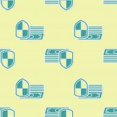 Money Protection Icon Seamless Pattern On Yellow Background. Financial Security, Bank Account Protec poster
