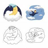 Bitmap Illustration Of Dreams And Night Logo. Set Of Dreams And Bedroom Stock Bitmap Illustration. poster