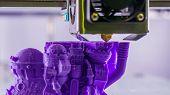 Print Head Of 3d Printer Machine Printing Plastic Model Of Purple Toy Castle At Modern Scifi Technol poster