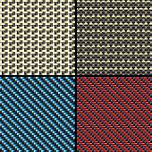 Set of four carbon fiber,  kevlar and decorative fabric seamless patterns. Vector Illustration