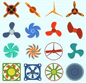 Fans And Propellers Technology Icons Isolated Object. Propeller Fan Icons Cool Ventilation Ship Symb poster