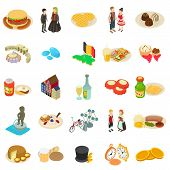 European Country Icons Set. Isometric Set Of 25 European Country Icons For Web Isolated On White Bac poster