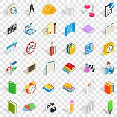 College Student Icons Set. Isometric Style Of 36 College Student Icons For Web For Any Design poster