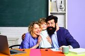 Happy Family Schooling Together. Family School. Little Boy And His Parents. Family Educational Right poster