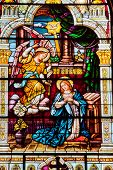 Angel Appearing Mary Stained Glass Saint Peter Paul Catholic Church San Francisco California