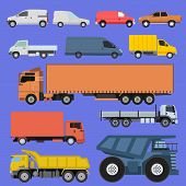 Trucks Icons Set Shipping Cars Vehicles Cargo Transportation By Road. Delivery Vehicle Car Shipping  poster