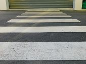 White Line, Walkway Across The Road, Road For Walkways. poster