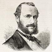 Henri Vieuxtemps old engraved portrait (Belgian violinist and composer). Created by Chenu, published on L'Illustration, Journal Universel, Paris, 1863