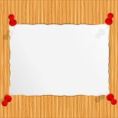 Paper on wooden wall