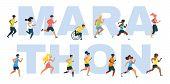 Marathon Word Concept Banner. Sportive People, Athletes Running Marathon, Sportsmen With Disability  poster