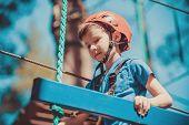 Boy Enjoying Activity In Climbing Adventure Park At Sunny Summer Day. Kid Climbing In Rope Playgroun poster