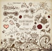 Hand Drawn floral ornaments with flowers and birds | Love elements | Engraving tree and flowers for