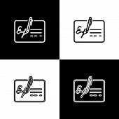 Set Signed Document Line Icons Isolated On Black And White Background. Pen Signing A Contract With S poster