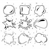 Cartoon Speech Bubble Black White Vector Set, Speech Bubble Set In Pop Art Stylem, Comic,bubble For  poster