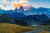 View Of The Famous Mount Fitz Roy Or Cirro Fitz Roy At El Chalten Village In Los Glaciares National  poster
