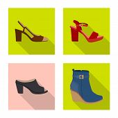 Vector Design Of Footwear And Woman Sign. Collection Of Footwear And Foot Vector Icon For Stock. poster